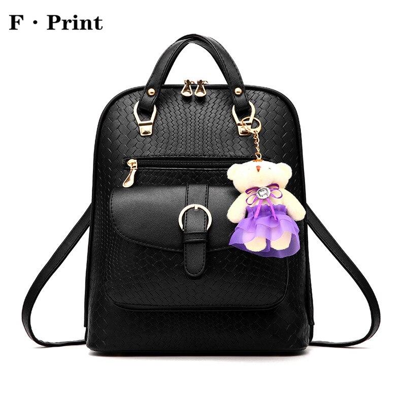 Brand Simple Design Backpack Women Backpacks Solid Vintage Girls School Bags PU Leather Women Ruckpack Shoulder