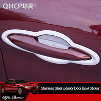 QHCP Stainless Steel Car Styling Door Bowl Protection Decoration Cover Sticker Exterior Accessory For Alfa Romeo Giulia/Stelvio