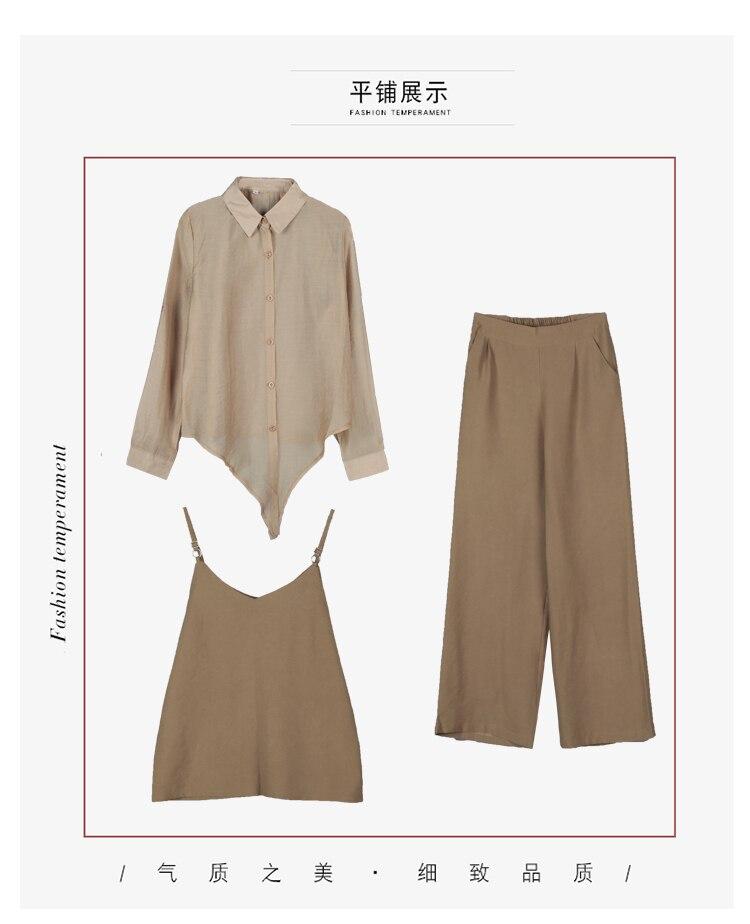 2019 Spring summer women sets office lady elegant chiffon blouse shirts+female wide leg pants trousers pantalon two piece sets 7