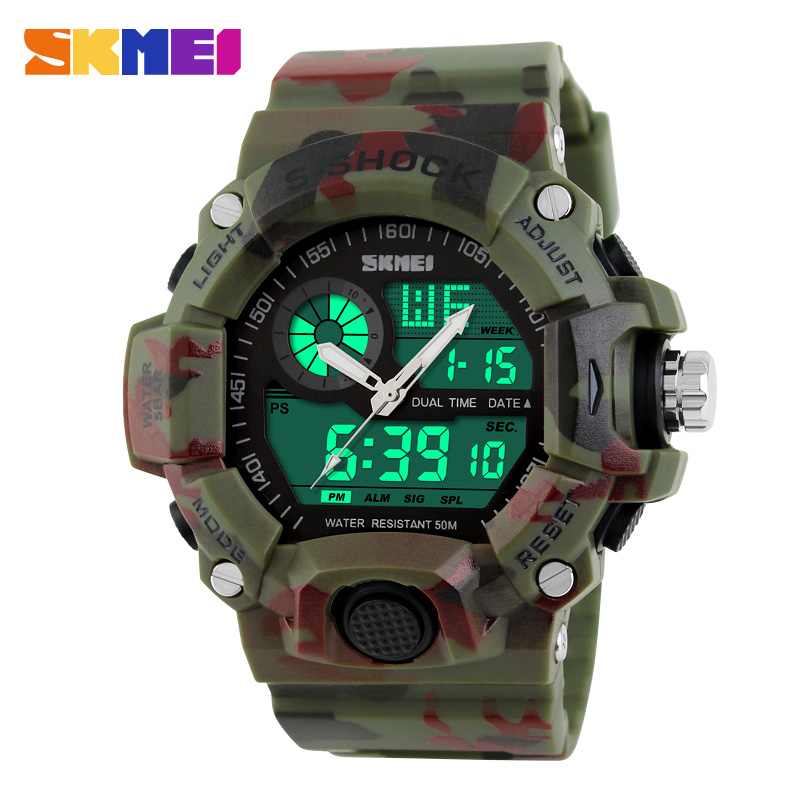 2017 Quartz Digital Camo Watch Men Dual Time Man Sports Watches Men Skmei S Shock Military Army Reloj Hombre LED Wrist Watches men sports watches dual display analog digital led electronic quartz wristwatches waterproof military watch reloj hombre skmei