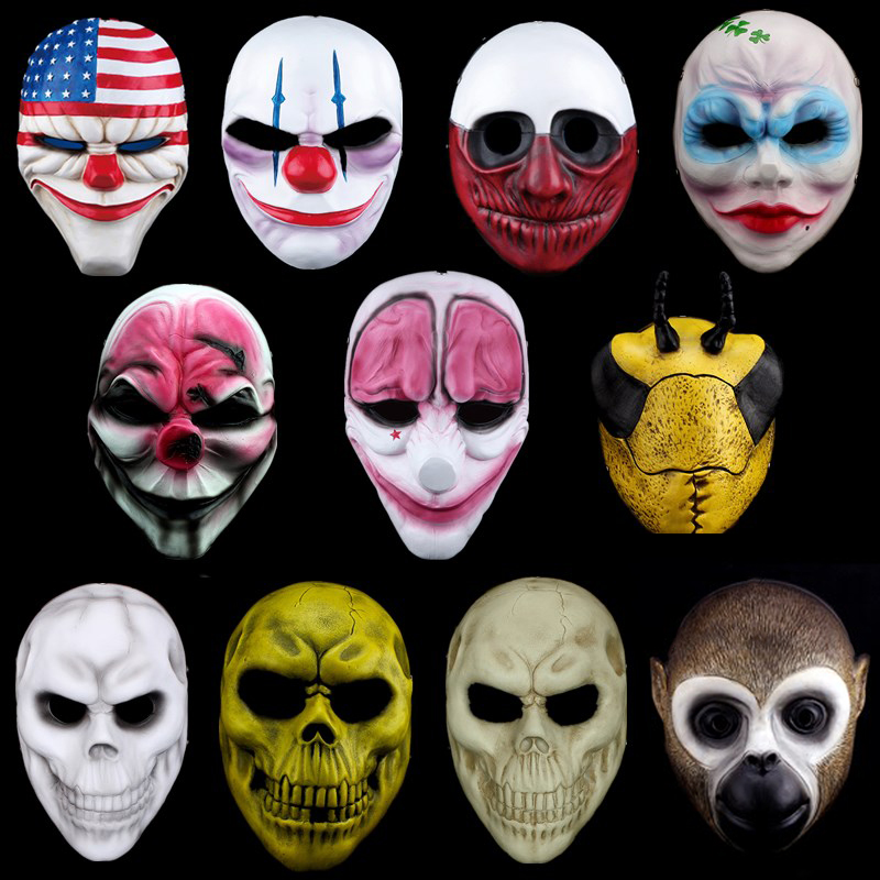H D Halloween Horrible Mask Payday 2 Mask Newest Topic Game Series Resin Scary Clown Masks