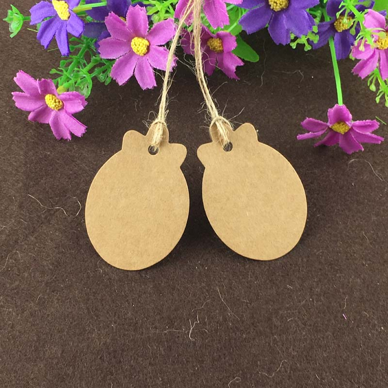 200 Pcs Kraft Paper Label Card Blank Tag for DIY Gifts Craft Price Luggage Name Tags Hanging Bookmark +200pcs strings