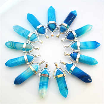 Gazelle Blue Agates Natural Stone Smoke Crystal Pillar Point Pendants & Necklaces For Making Diy Jewelry 24pcs Free Shipping - DISCOUNT ITEM  27 OFF Jewelry & Accessories