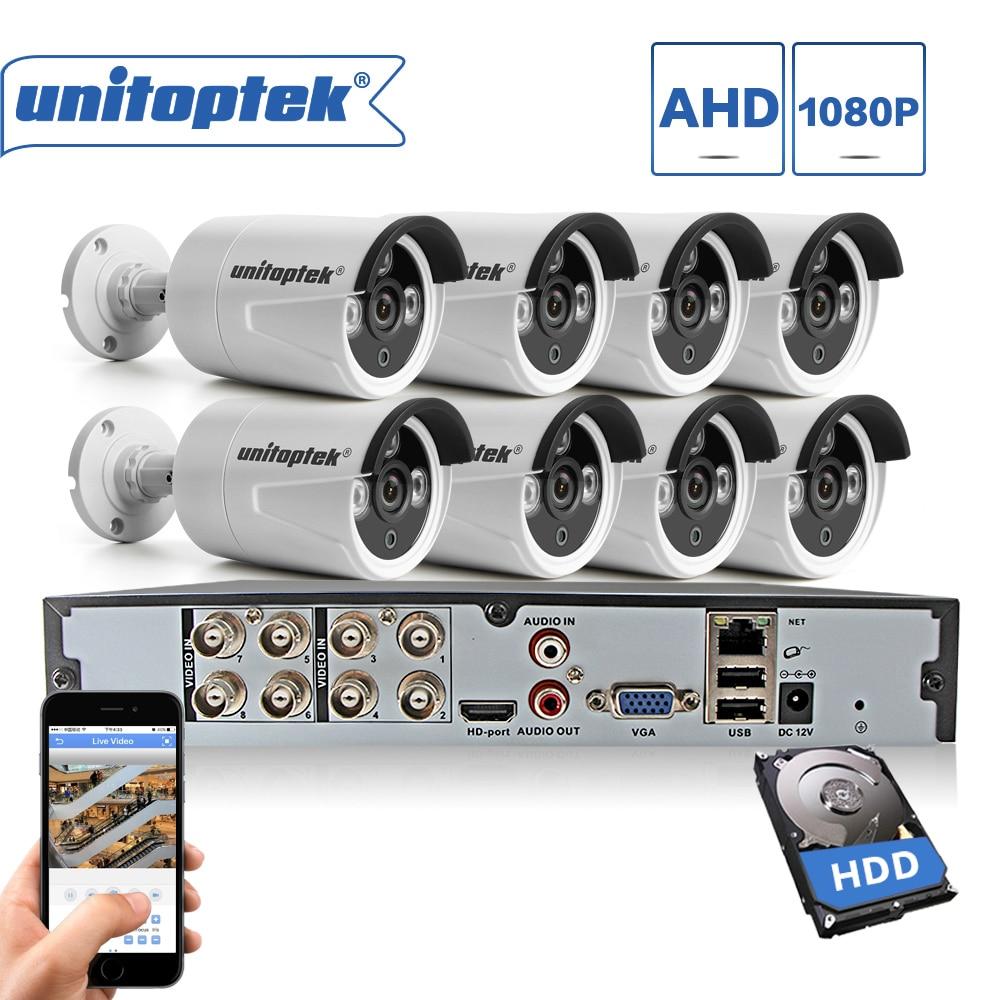 8CH CCTV System 1080P HDMI AHD DVR NVR 8PCS 2.0MP IR Security Camera Outdoor IP66 Waterproof AHD-H Surveillance DIY Cameras Kit цена