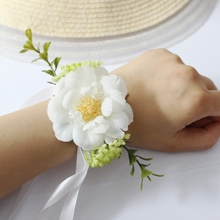 High quality bride groom bridesmaids corsage boutonniere wrist  brooch wedding corsages prom and photography props