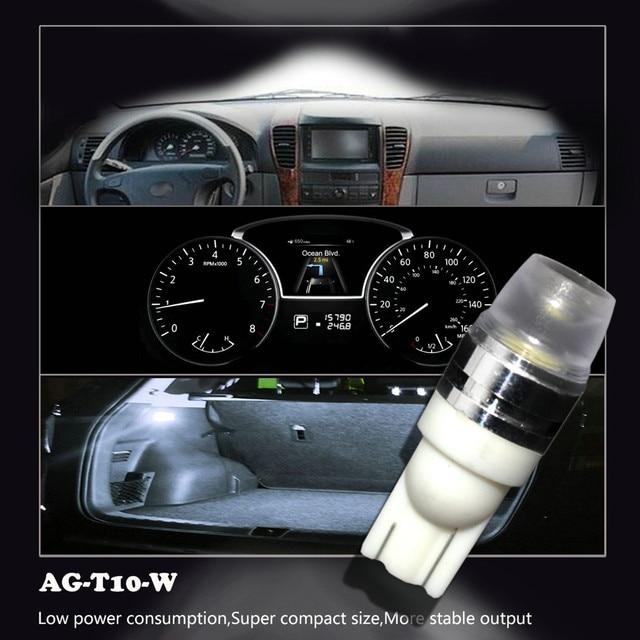 2 x T10 LEDเว้าภายในเลนส์หลอดไฟCOB WEDGEด้านข้าง 6000KหลอดไฟLEDสำหรับรถอ่านไฟ