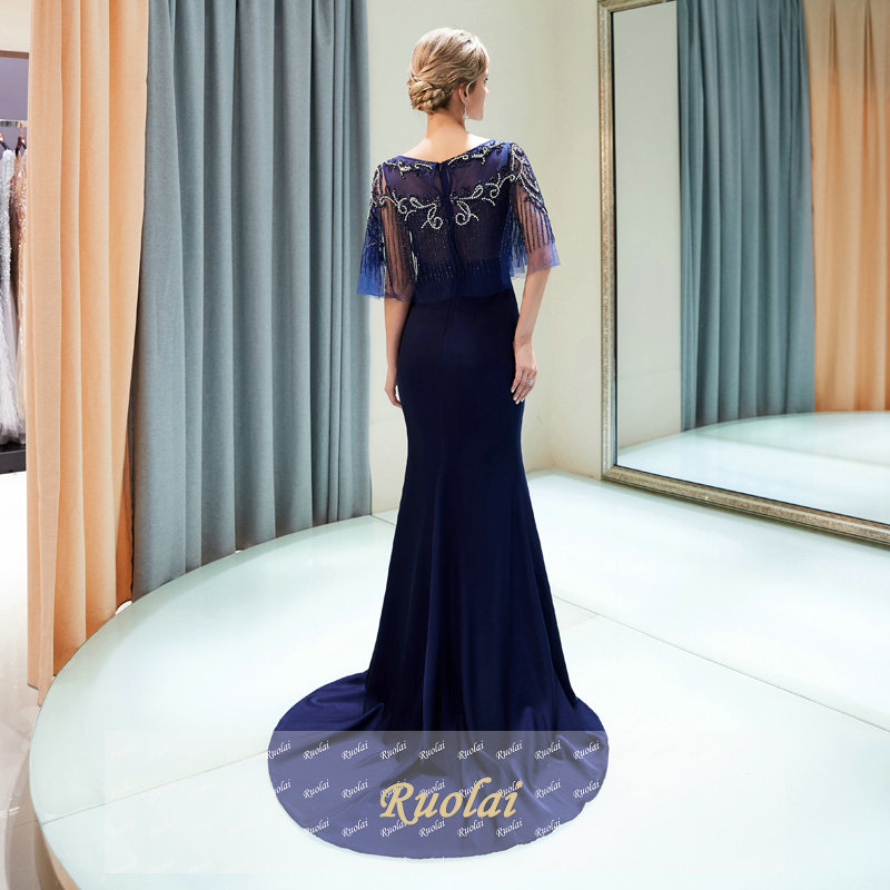 Robe de soirée bleu marine luxe robes de soirée longue 2019 avec Cape lourde perlée robes de soirée pour femmes robes de soirée formelles - 2