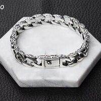 SOQMO Bracelet 100% Real 925 Sterling Silver Friendship Men Jewelry 10mm Wide Vintage Bangle Bracelet Women Gift Fine Jewelry
