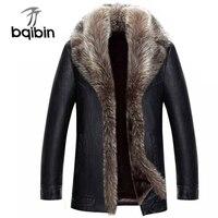 Натуральный мех енота воротник для мужчин Куртки из искусственной кожи зимние Утепленные Пальто Jaqueta De Couro Chaqueta
