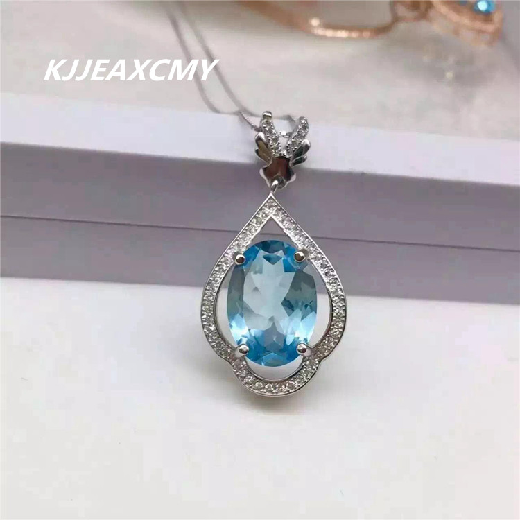KJJEAXCMY boutique jewelry, Natural Topaz Blue Topaz Pendant Necklace with 925 silver and precious stones цены онлайн