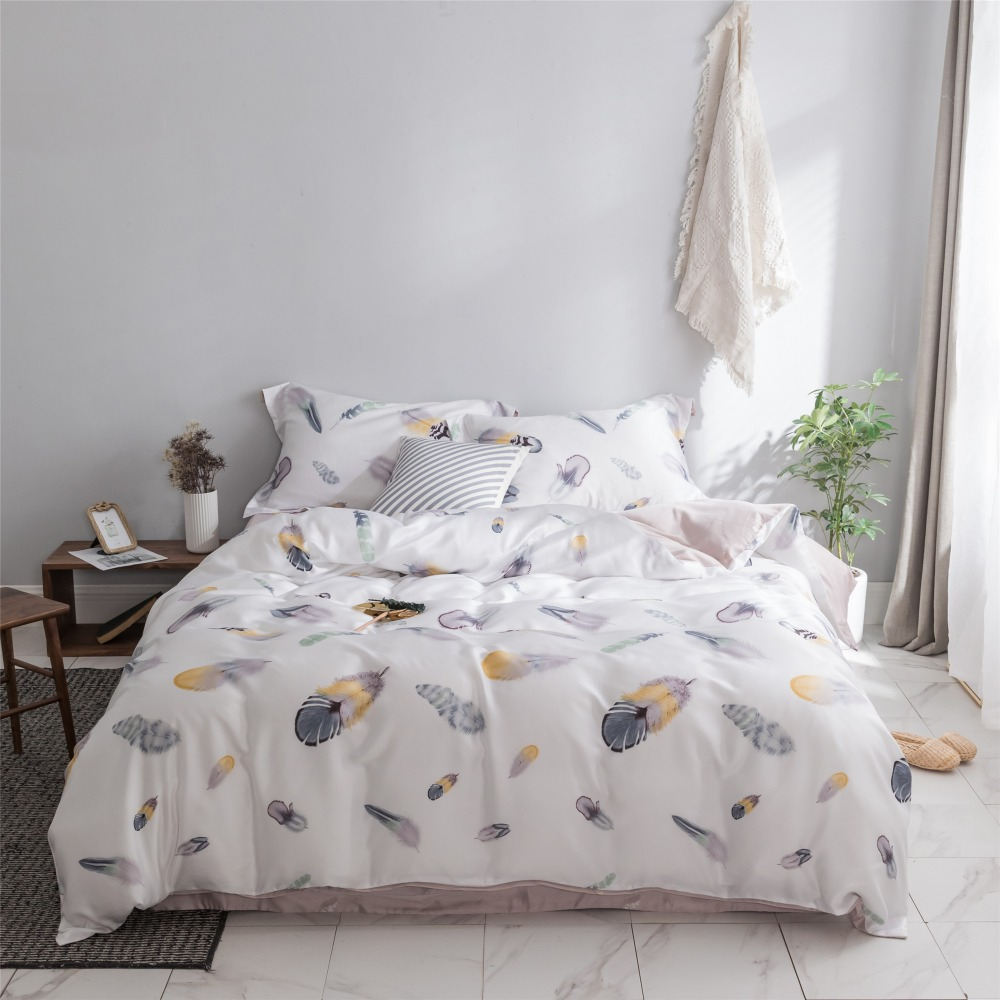 Double Sided Tencel Nordic Feather Bed Linens Set Summer