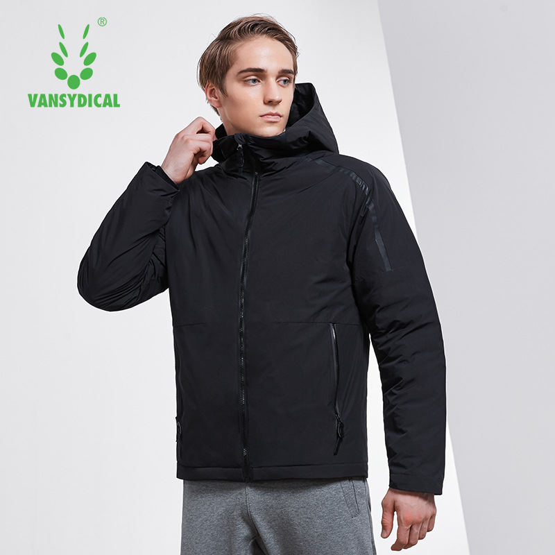 Vansydical Sports Down Coat Winter Warm Men's High-collar Hooded Windproof Sportswear Tops White Duck Down Running Jackets