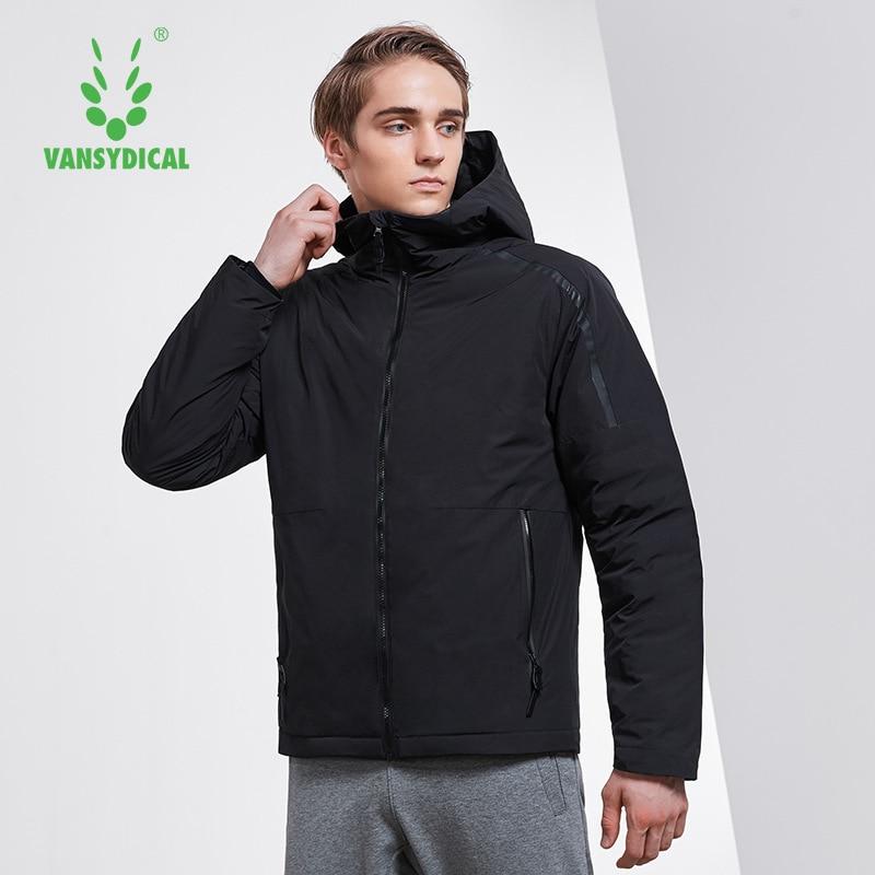 Vansydical спортивный пуховик зимний теплый мужской с высоким воротником с капюшоном ветрозащитная спортивная верхняя одежда белый утиный пух куртки для бега