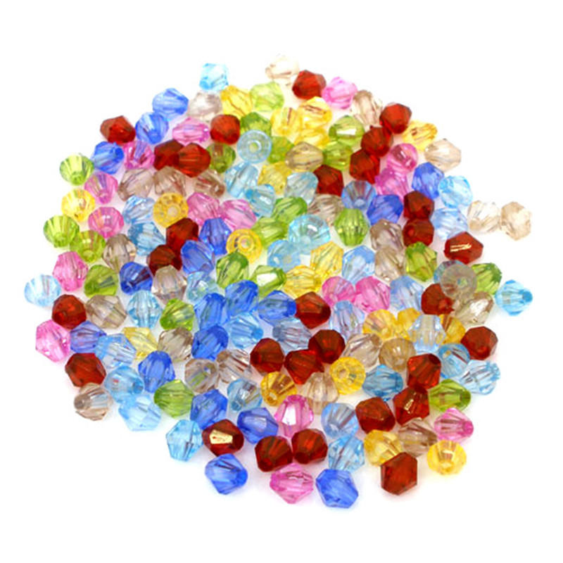 25000Pcs Wholesales Hot New DIY Mixed Acrylic Bicone Beads Spacers Jewelry Component 5mm x 5mm