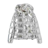 2019 Hot Sale Women's Winter Coats Fashion Silver Hooded Parkas Woman Winter Jacket Women Big Pockets Padded Cotton Parkas