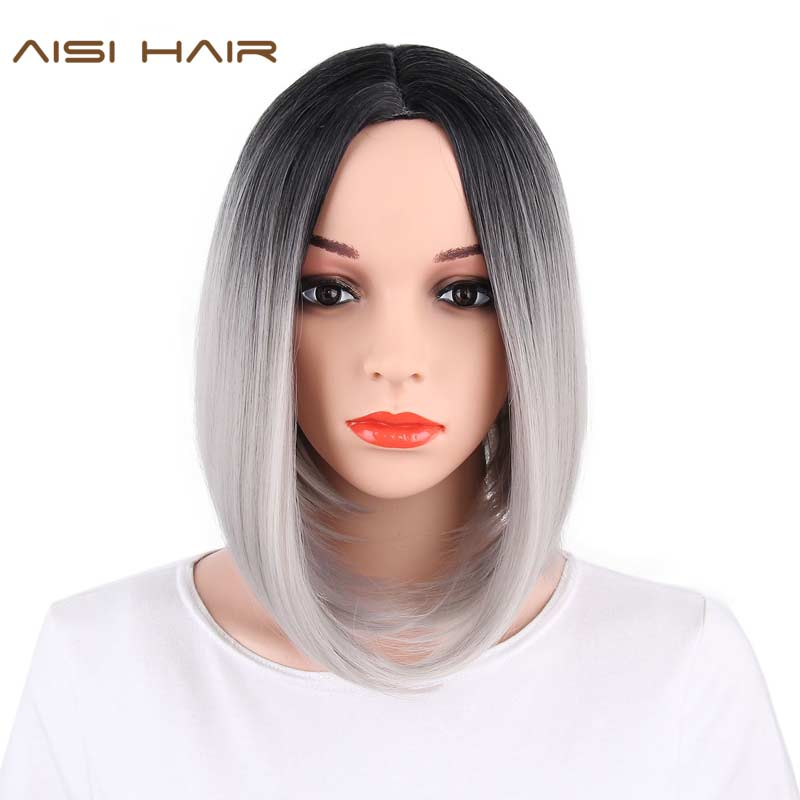 Aisi волосы Синтетические Ombre седые волосы боб Стиль короткие парики для женский, черный и розовый волосы