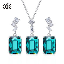 CDE 925 Sterling Silver Jewelry Set Women Embellished with crystals from Swarovski Pendants Necklaces Earrings Fine Jewelry Set(China)