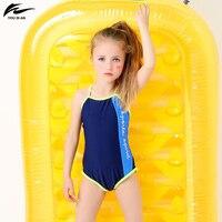 2017 Chegada Nova Carta de Design Crianças Swimwear One Piece-Baby Bathing Suit Crianças Vermelho Azul Maiôs Beach Wear Para meninas