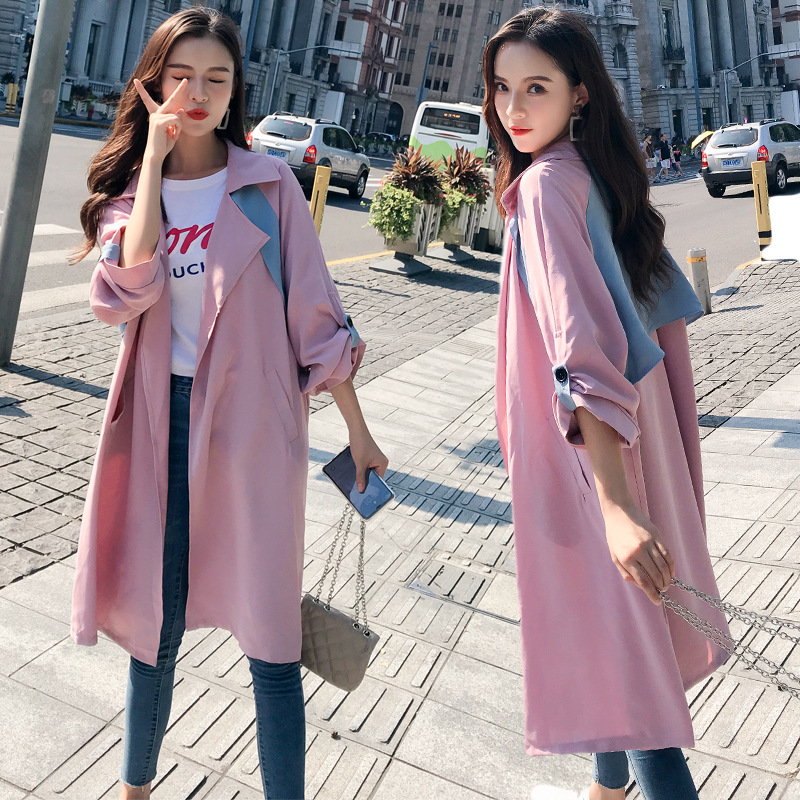 New Autumn Windshirt Coat/Mid-Long/Loose Long Sleeves For Large Size Women's Wear