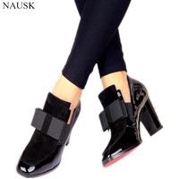 New 100% Red Bottom Sole High Heels Pumps Square Toe Genuine Leather Shoes Women Ladies Black Sexy Chaussure Femme