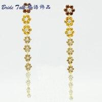 Wholesale Vogue Long Earrings For Women Jewelry Flower Pierced Dangle Earring W Brown Rhinestone Crystals Free