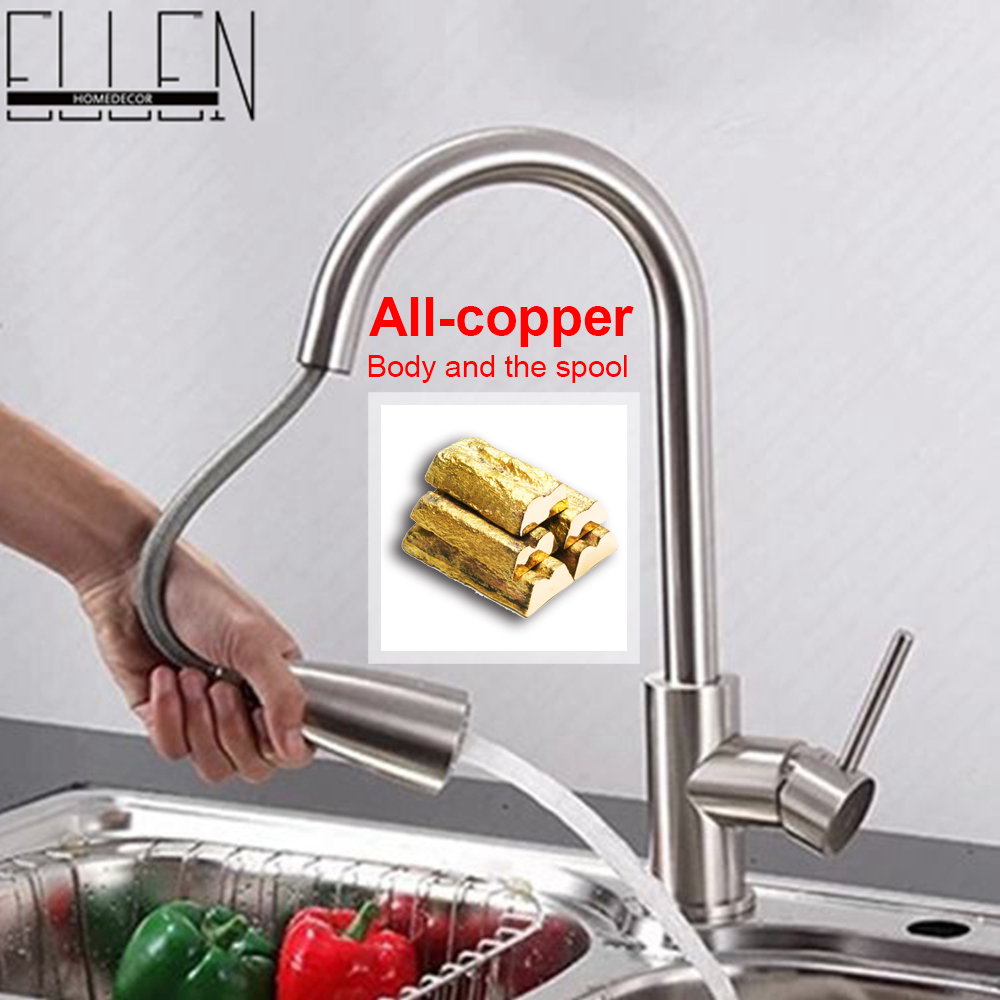 ФОТО Pull out kitchen faucet nickel brushed hot and cold kitchen mixer tap rotatable water tap for kitchen