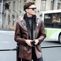 New Mens Fur Leather Jacket Winter Fashion Plus Size Black Coffee Pu Leather Long Sections Fur
