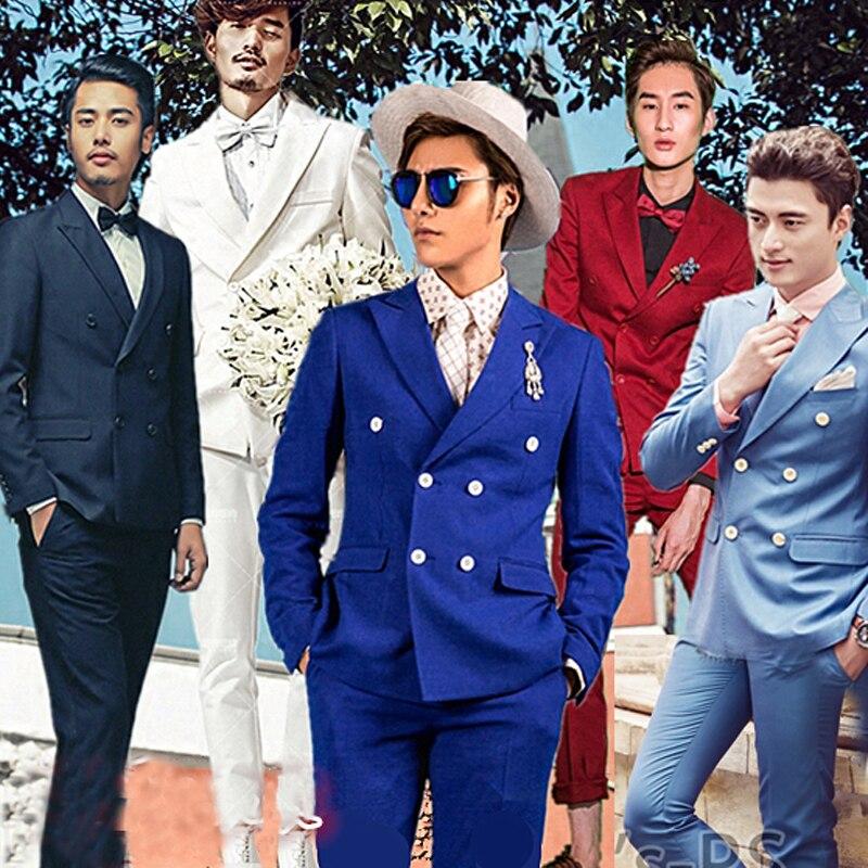 d2d8d6ab65 Hombres traje de manga larga etapa presidió hombres Trajes vestido cruzado  acogió teatral Esmoquin para hombres wedding prom dos sola pieza