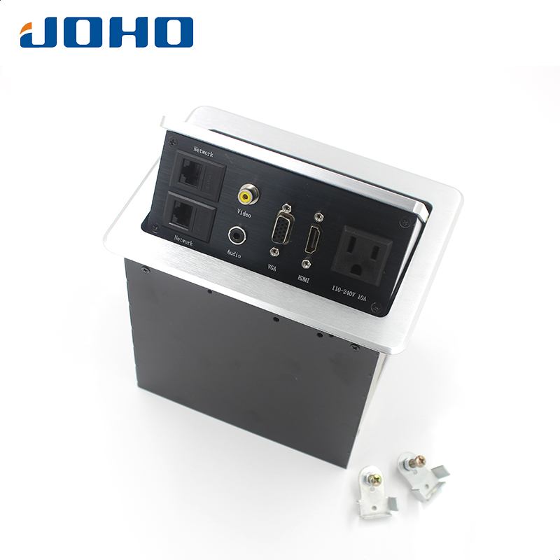 JOHO 15A Desk Socket Table Pop-up Outlets US Socket, 2 Datas, VGA, HDMI, Audio-L & Audio-R Inserts Desktop Power Socket материнская плата asus h81m r c si h81 socket 1150 2xddr3 2xsata3 1xpci e16x 2xusb3 0 d sub dvi vga glan matx