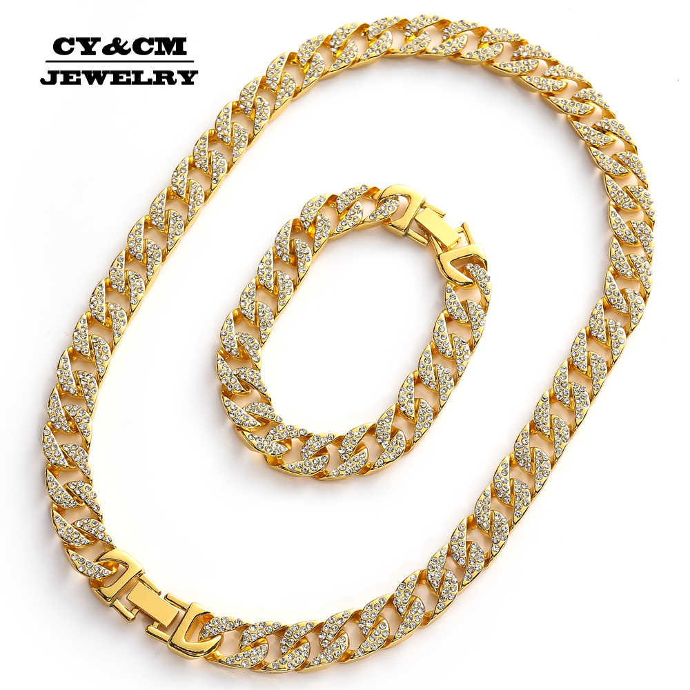 13mm ciężki mrożona z Miami kubański Link kryształ naszyjnik Choker Bling CZ Rhinestone Hip Hop złoty srebrny dla mężczyzn bransoletki i łańcuszki na rękę zestaw