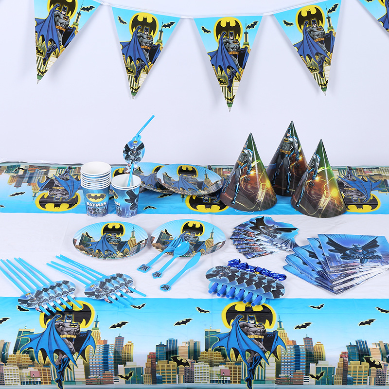 Batman Kids Birthday Party Set Decoration Party Supplies Paper Cup Plate Napkin Banner/Flag Hat Straw Candy/Popcorn box Loot Bag
