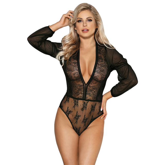384b334f56a Long sleeve mesh plus size rompers deep v neck women clothing bodysuit top  elastic sexy body
