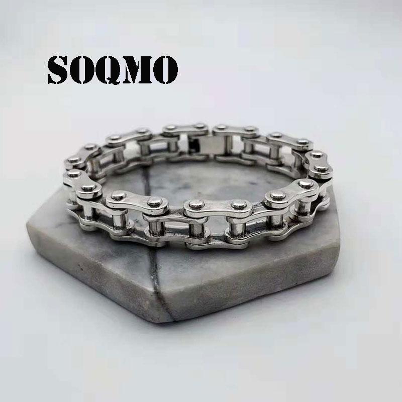 SOQMO Punk Bracelet 925 Silver about 20cm Big Original Pure S925 Thai Silver Bracelets for Men Jewelry High Polished Rock SQM232