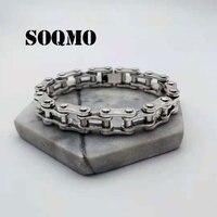 Soqmo браслет в стиле панк 925 серебро около 20 см большой оригинальный чистый S925 тайский серебряный Браслеты для Для мужчин полированные ювели