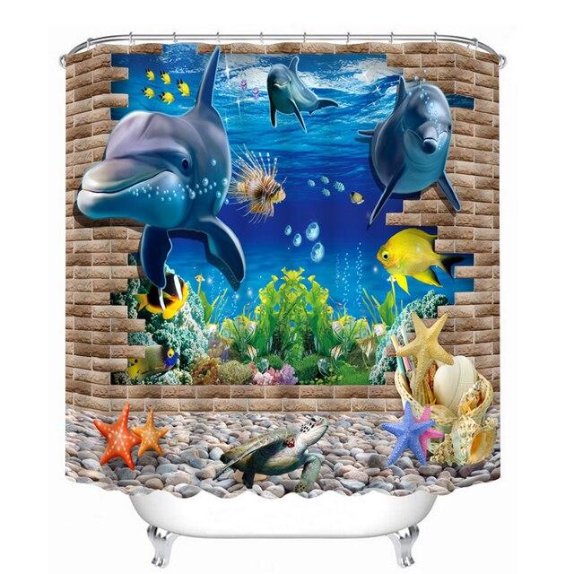 3D Modello Tende da Doccia Delfino Starfish Mondo Subacqueo Bagno Tenda Impermea