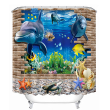 3D Underwater World Pattern Shower Curtains Dolphin Starfish Bathroom Curtain Waterproof Thickened Bath Curtain Customizable