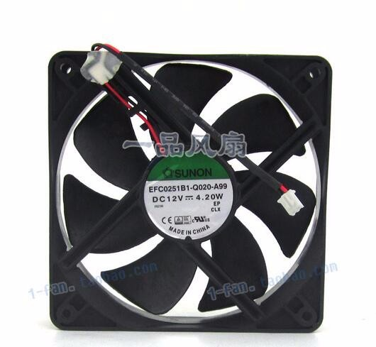 SUNON 12025 EFC0251B1-Q020-A99 120*120*25MM DC 12V 4.20W 12CM 2-wire Cooling Fan