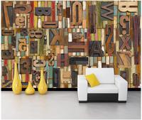 Custom 3d Photo Wallpaper 3d Wall Murals Wallpaper Woodcut Wooden Alphabet Backdrop Cafe Bar Restaurant 3d