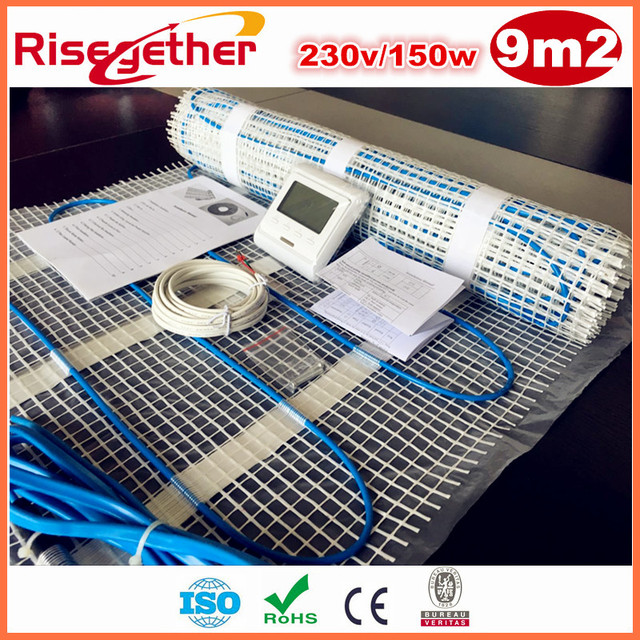 Sale 9m2 230V Self-adhesive Double Core Underfloor Heating Cable Mats 150w/m2 Heating Mat Kits With M6 Thermostat