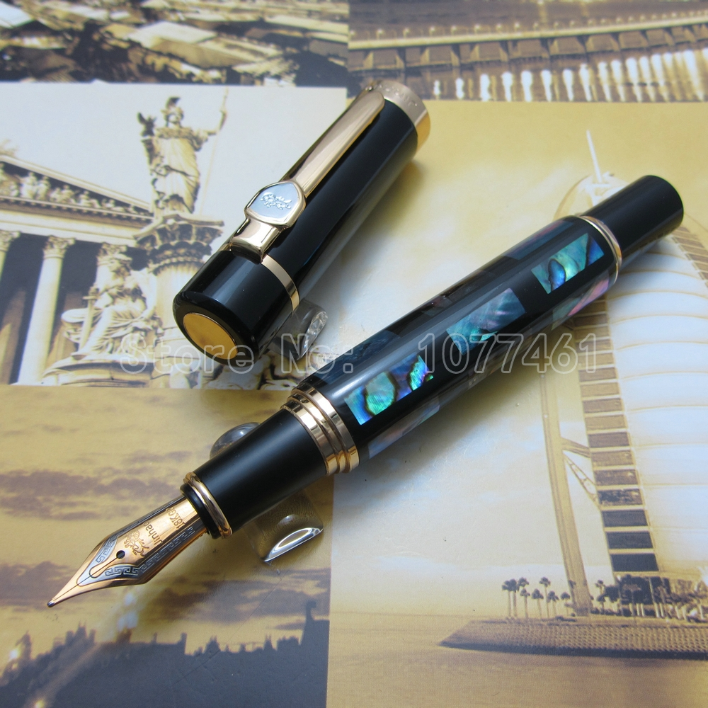 Jinhao Fountain Pen Bright Pearl Dark Green Sea Shell With Gift Box JC23H1 environmentally friendly pvc inflatable shell water floating row of a variety of swimming pearl shell swimming ring