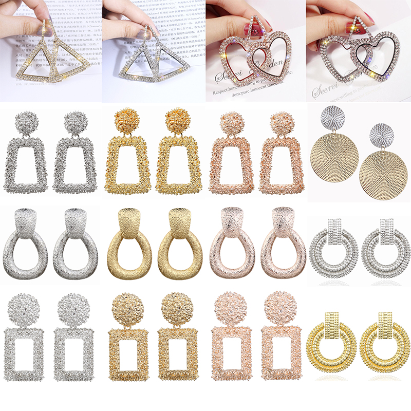 Cuteeco 27 Style Metal Pendant Exaggerated Earrings For Women Geometric Wedding Gifts Bohemian Alloy Wholesale 2019