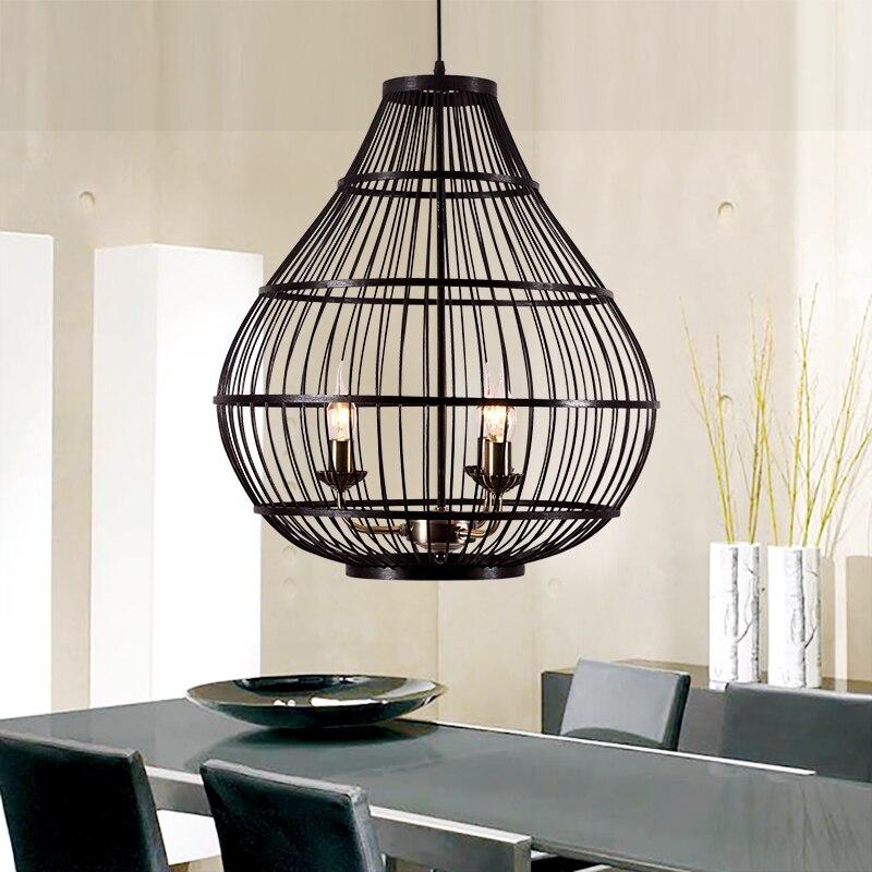 Modern bamboo white/black cage pendant lamps Restaurant Bar Retro creative bar decoration pendant light ZA92313