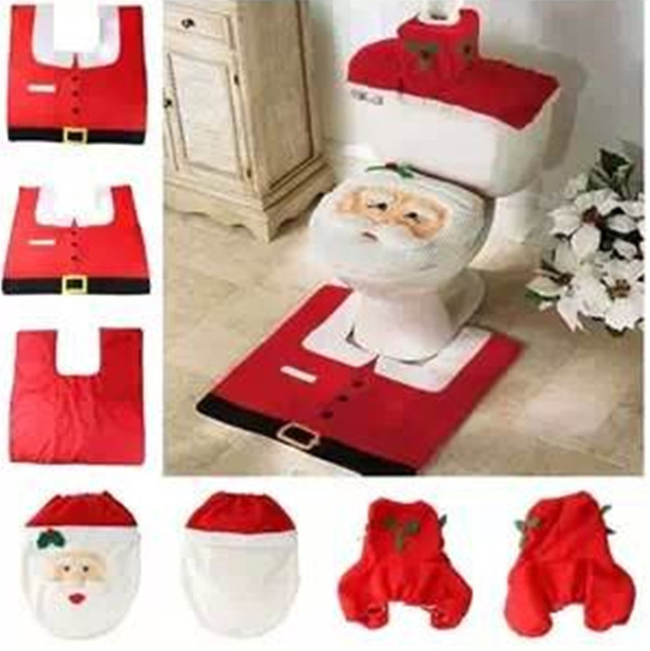 Christmas Decoration 2015 Santa Toilet Seat Cover & Rug Bathroom Set Home Decor Santa Claus Christmas Gifts And Decorations