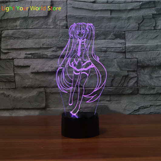 Us 12 64 29 Off 3d Anime Girl Lamp Optical Illusion 3d Night Light For Nursery Decor Living Room 7 Colors Changing Girl Toy Gift In Led Night Lights