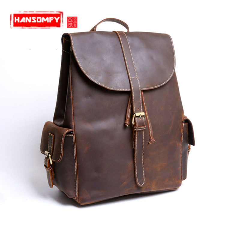 Crazy horse leather Men and women backpack male leather shoulder bag leisure package retro female handmade laptop bags aetoo crazy horse skin male package leisure retro guangzhou leather men bag vertical shoulder bag oblique package men s small ba