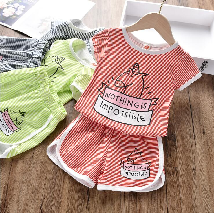 T-Shirt Shorts Boy's-Clothing Two-Piece The-Girl Striped Cartoon Summer of Korean-Version