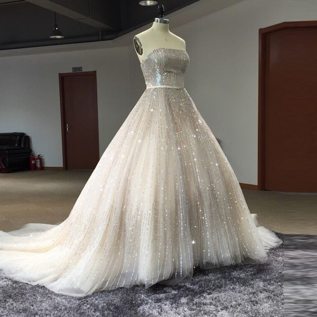 Real Photo Luxury Gorgeous Full Crystal Wedding Dress With Veil Silver Beaded Bling Bridal Gowns