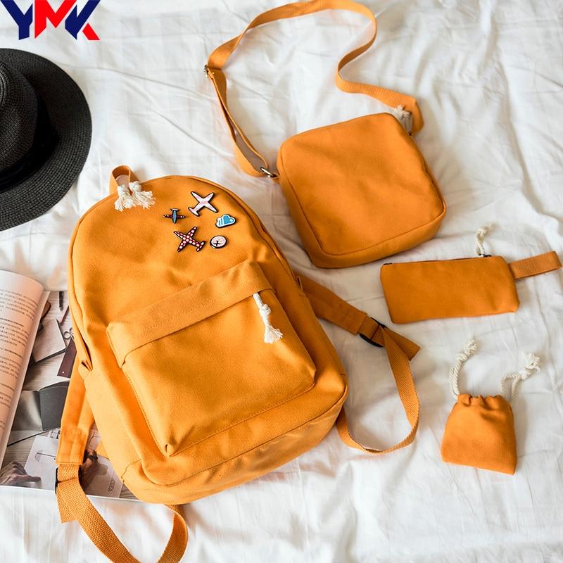 YMK Fashion Women Backpacks For Teenage Girls School Bag Travel Leisure Canvas Backpack Set Female Backpacks Mochila Feninina women fashion canvas backpack travel backpacks teenagers larger capacity girls school bags shoulder bag female mochila bolsa