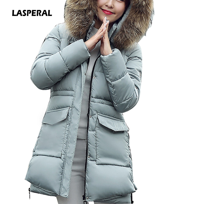 LASPERAL Plus Size Women Winter Jacket And Coat 2017 Big Fur Collar Cotton Padded Thick Hooded Loose Parkas Female Parka Outwear big fur collar hooded slim cotton coat 2017 winter new parkas women thick overcoat plus size female feather padded outerwearc147