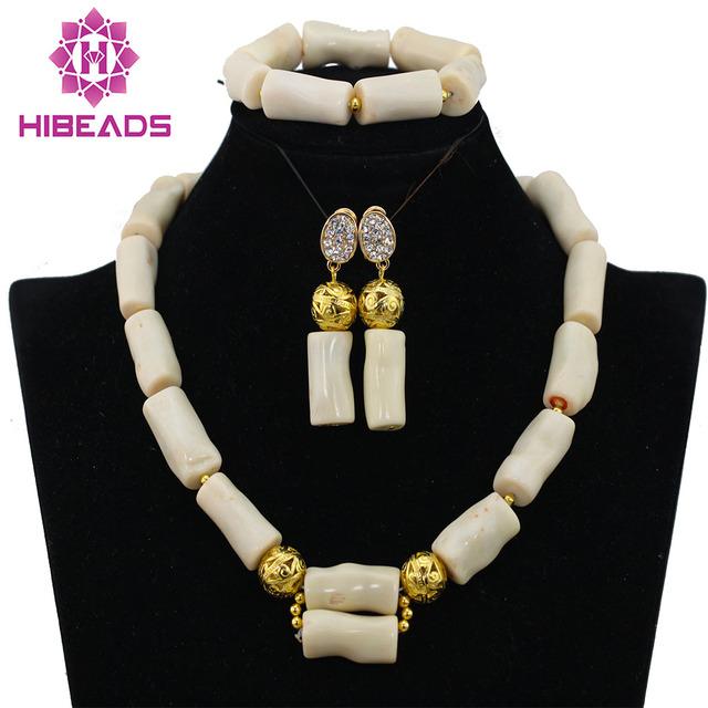 2016 Nueva Genuino de Coral Perlas Collar de la Joyería de la Boda Africana de Nigeria Coral Perlas de La Joyería de Cuentas de Coral Blanco Diseños CJ573